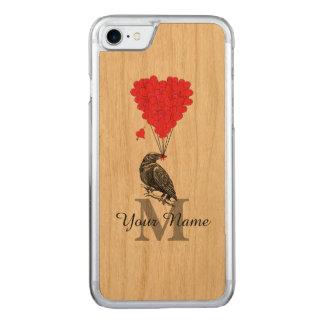 Corvo e monograma vermelho do coração capa iPhone 7 carved