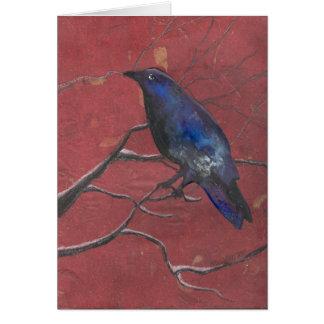 Corvo misterioso do inverno cartão de nota