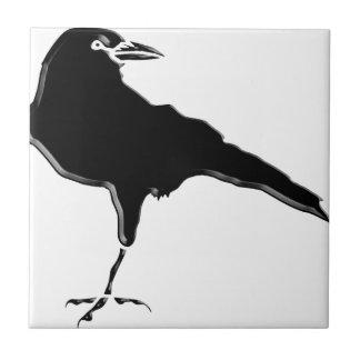 Corvo preto azulejo quadrado pequeno