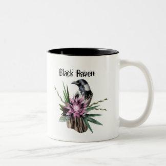 Corvo preto caneca de café em dois tons