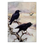 Corvos na ilustração do vintage do inverno cartão