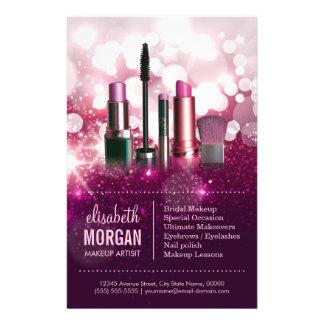 Cosmetician do maquilhador - brilho cor-de-rosa da panfletos coloridos