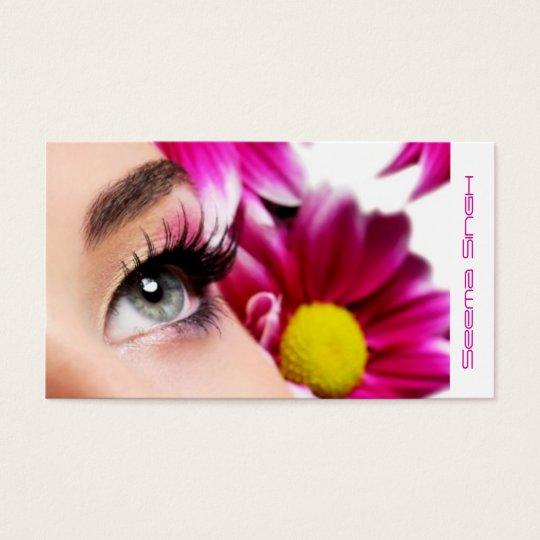 Cosméticos magentas do maquilhador da flor cartão de visitas