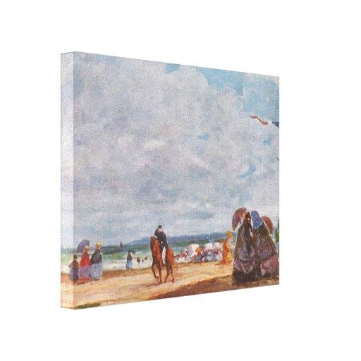 Costa de Eugene Boudin- em Trouville Impressão Em Canvas