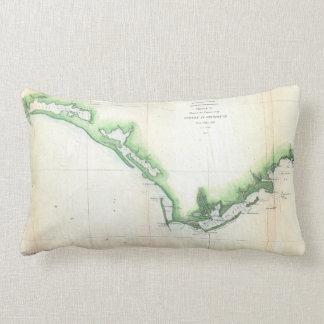 Costa do vintage do mapa da língua de terra de almofada lombar