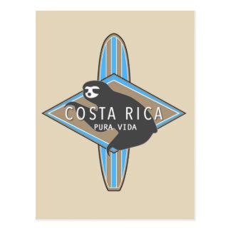 Costa Rica que surfa o cartão da preguiça Cartão Postal