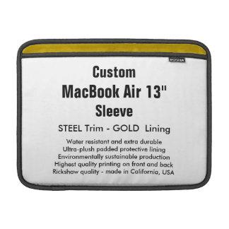 """Costume 13"""" aço & ouro da luva de ar (h) de capas para MacBook air"""