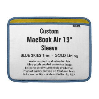 """Costume 13"""" azul & ouro da luva de ar (h) de bolsa de MacBook"""