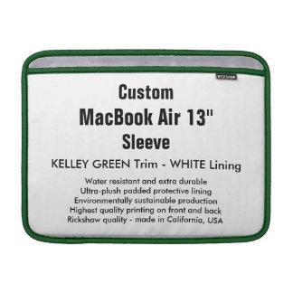 """Costume 13"""" verde & branco da luva de ar (h) de bolsas de MacBook"""