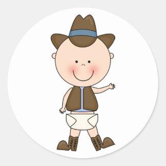 Costume bonito do pônei do bebé & do cavalo adesivo redondo