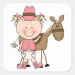 Costume bonito do pônei do bebé & do cavalo ociden adesivo em forma quadrada