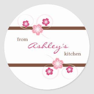 Costume da cozinha de etiquetas de Sakura Adesivo Em Formato Redondo