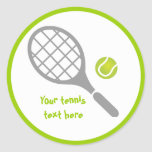 Costume da raquete e da bola de tênis adesivo em formato redondo