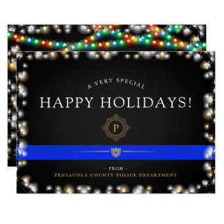 Costume do estilo do Natal da polícia boas festas Convite 12.7 X 17.78cm