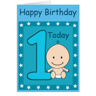 Costume do menino do primeiro aniversario cartão comemorativo