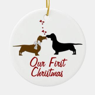 Costume do Natal dos amantes do Dachshund primeiro Ornamento De Cerâmica Redondo