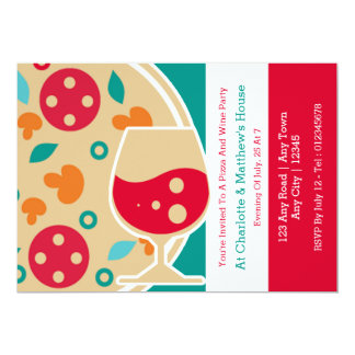 Costume do partido da pizza e do vinho convite 12.7 x 17.78cm