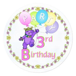 Costume do partido de aniversário de 3 anos do convite quadrado 13.35 x 13.35cm