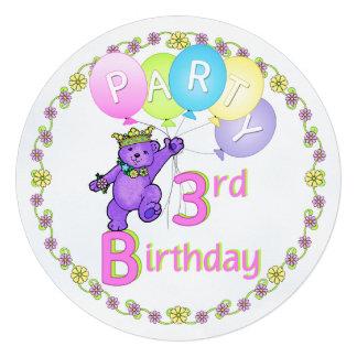 Costume do partido de aniversário de 3 anos do urs convites