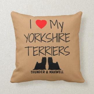 Costume eu amo meus dois yorkshires terrier almofada