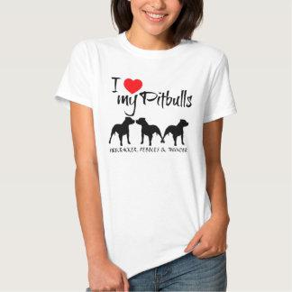 Costume eu amo meus três Pitbulls Tshirt