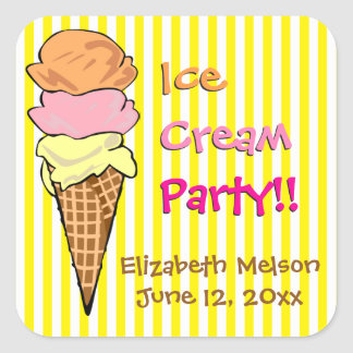 Costume listrado do cone do sorvete adesivo quadrado