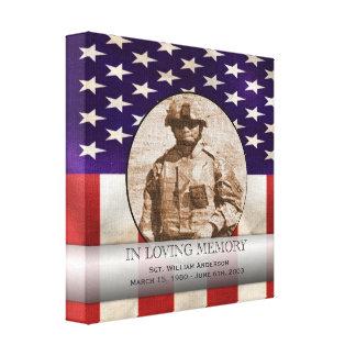 Costume militar patriótico memorial personalizado impressão de canvas envolvida
