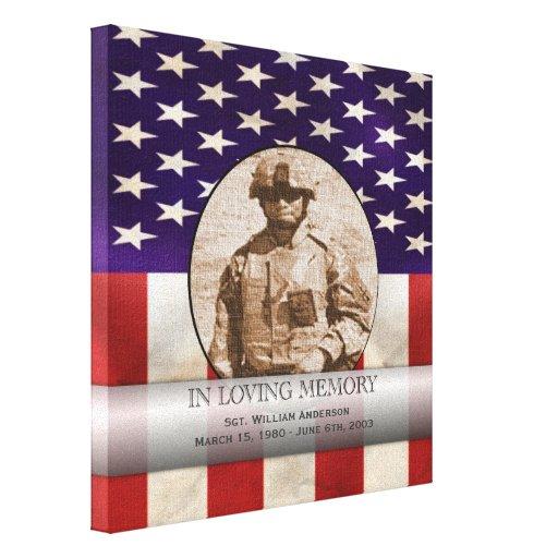Costume militar patriótico memorial personalizado impressão de canvas esticada