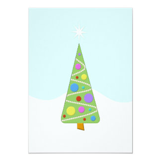 Costume moderno simples da árvore de Natal Convite 12.7 X 17.78cm