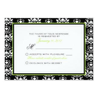 Costume preto & branco do acento RSVP do verde do Convite Personalizados