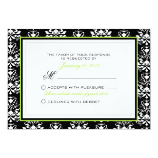 Costume preto & branco do acento RSVP do verde do Convite 8.89 X 12.7cm