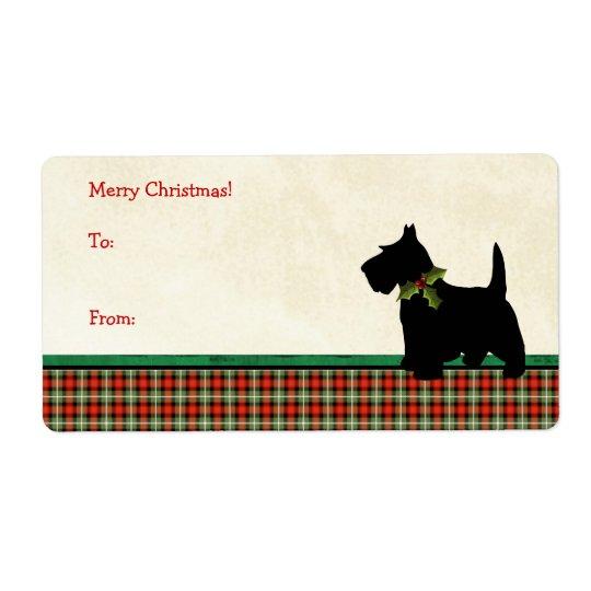Costume tradicional do Natal da xadrez do cão do Etiqueta De Frete