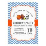 Costume uma festa de aniversário All-star do espor Convites Personalizado