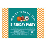 Costume uma festa de aniversário All-star do espor Convite