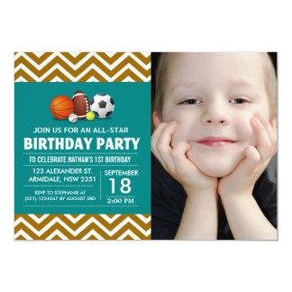 Costume uma foto All-star da festa de aniversário Convites