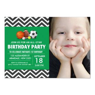 Costume uma foto All-star da festa de aniversário Convites Personalizado