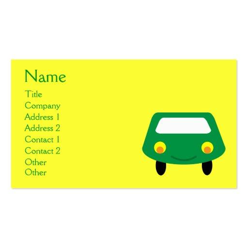Costume verde de sorriso bonito do amarelo do carr cartao de visita