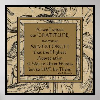 Cotação de Kennedy na gratitude Poster