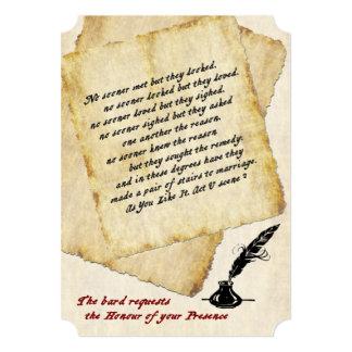 Cotações do amor de Shakespeare que Wedding o Convite 12.7 X 17.78cm