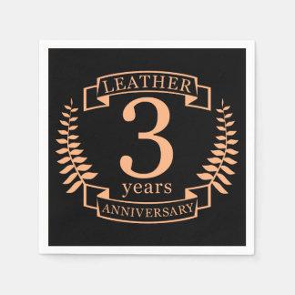 Couro 3 anos de aniversário de casamento guardanapo de papel