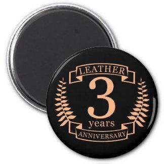 Couro 3 anos de aniversário de casamento imã