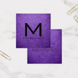 Couro Amethyst moderno elegante do monograma Cartão De Visitas Quadrado