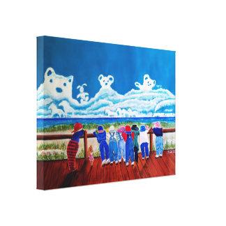 Couro cru - e - pintura das canvas das crianças da