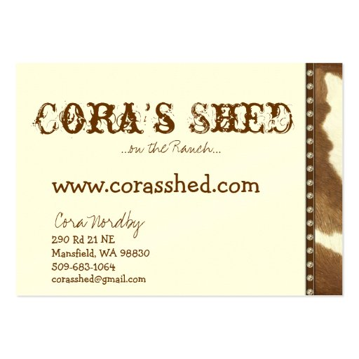 couro cru e unhas, a vertente de Cora,… no rancho  Modelo Cartao De Visita
