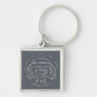 Couro de prata de Nissan Figaro-Lapis com iniciais Chaveiro Quadrado Na Cor Prata
