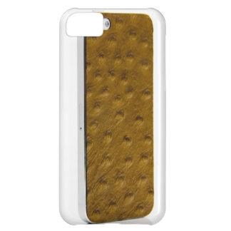 Couro de Tan da avestruz para o iPhone 5 Capa Para iPhone 5C