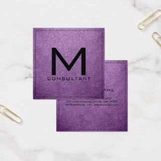 Couro moderno elegante da violeta africana do cartão de visitas quadrado