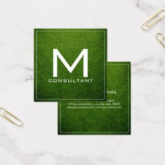Couro moderno elegante do abacate do monograma cartão de visitas quadrado