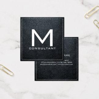 Couro moderno elegante do arsênico do monograma cartão de visitas quadrado