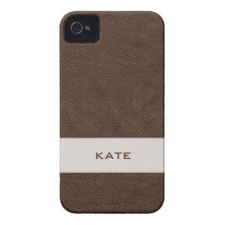Couro personalizado de Brown do falso Capinhas iPhone 4